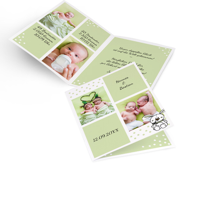 Abbildung von hellgruen-weiss gepunkteten Geburtskarten Zwillinge in Hoch, mit Namen, Datum, zwei Fotos. Innenseiten mit Platz fuer 2 Fotos links und Text rechts.