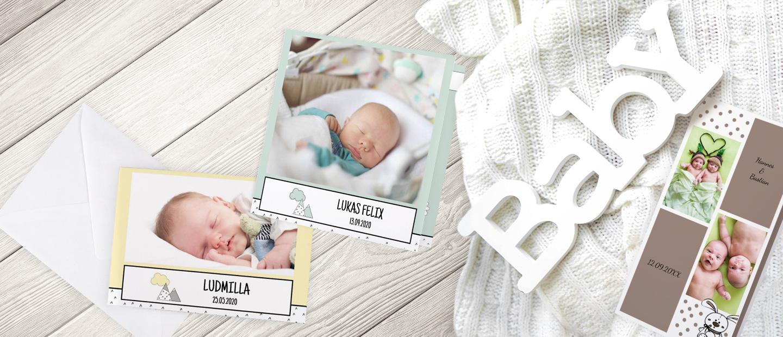 Abbildung von drei Vorlagen individueller Geburtstkarten fuer Maedchen, Jungs und Zwillinge. Gestaltet mit Namen, Fotos, niedlichen Verzierungen und Text.