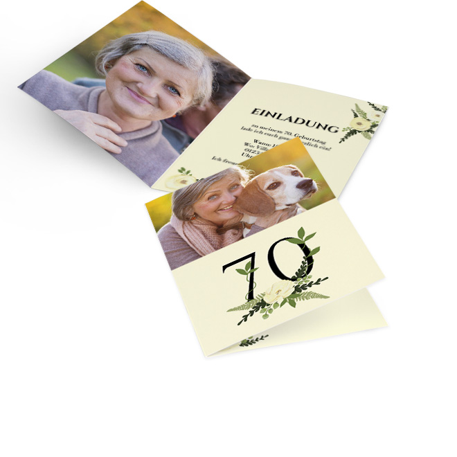 Abbildung von Einladungskarten runder Geburtstag, hoch, Rosenblueten um schwarze 70 auf cremefarbenem Hintergrund und Foto, innen links formatfuellendes Foto, rechts Text