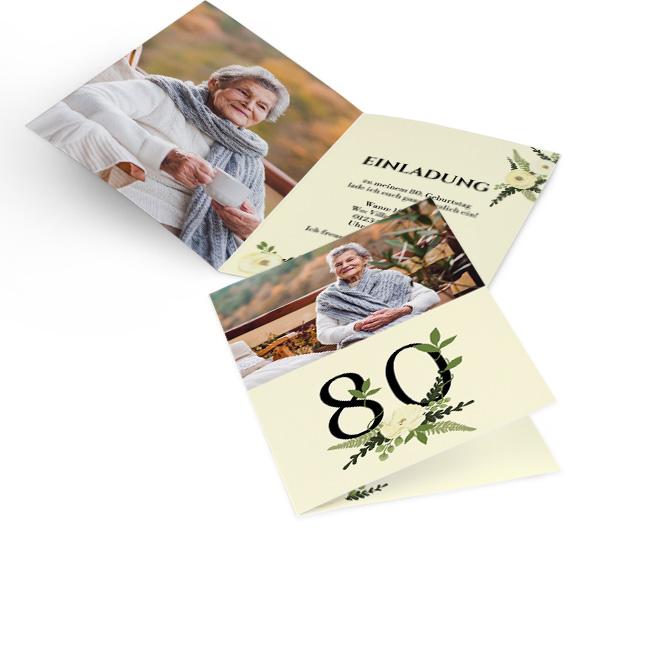 Abbildung von Einladungskarten runder Geburtstag, hoch, Rosenblueten um schwarze 80 auf cremefarbenem Hintergrund und Foto, innen links formatfuellendes Foto, rechts Text