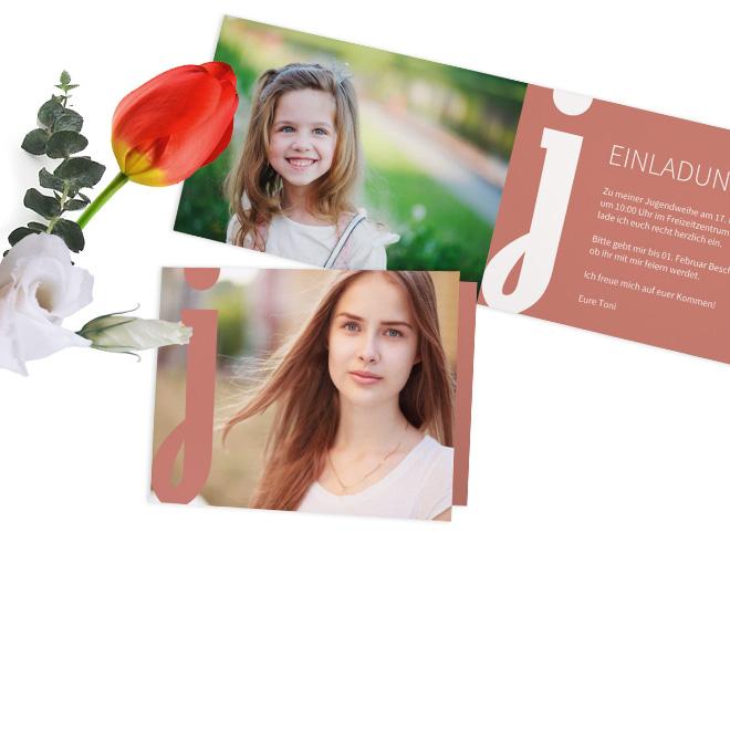 Besondere Jugendweihe Einladung mit eigenem Foto und unendlichen Gestaltungsmoeglichkeiten. Suchen Sie sich Ihre Vorlage aus und gestalten Ihre Karte nach Ihren Wuenschen.