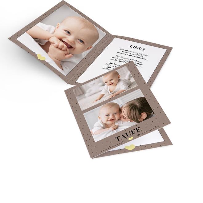 Abbildung einer Einladung Taufe in Braun, mit Punkten und Platz fuer zwei Fotos untereinander. Die Innenseiten bieten Platz fuer Foto links und Text rechts.