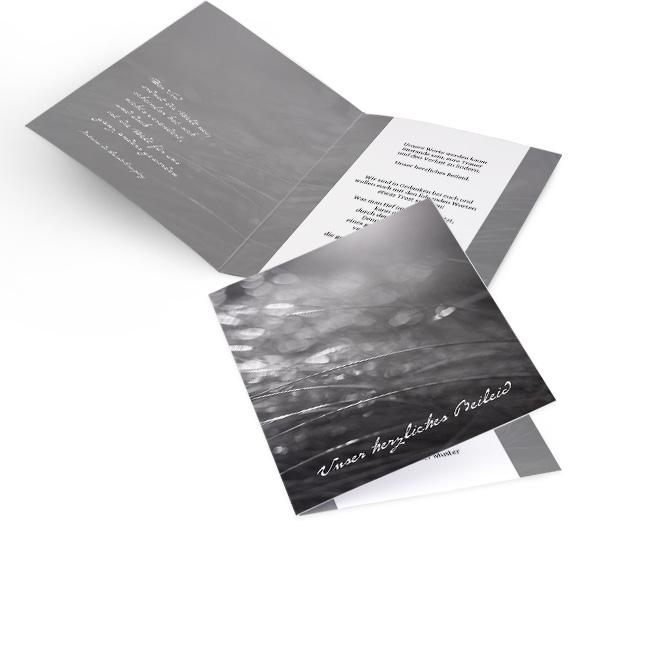 Abbildung schwarz-weisse Trauerkarte-Vorlage in Hoch, mit nassen Graesern und Schriftzug: Unser herzliches Beileid. Innenseiten mit Platz fuer Text links und rechts.