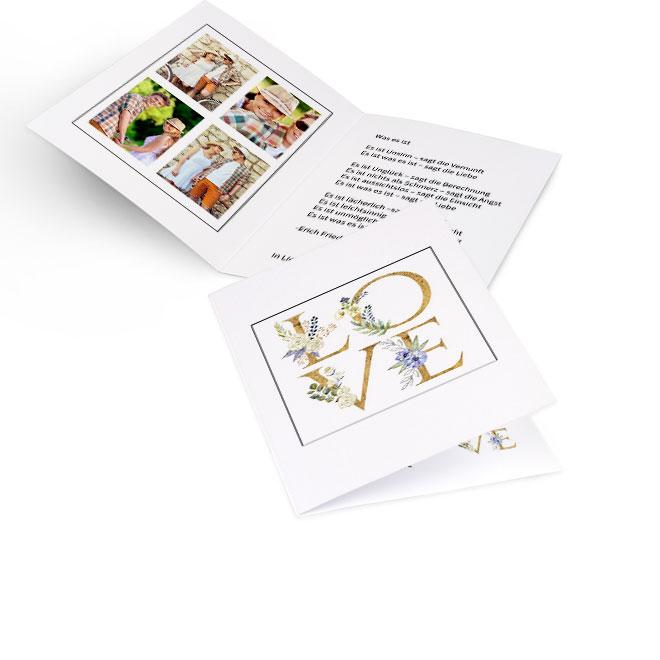 Abbildung einer beigen Valentinstag-Karte im Hochformat. Auf der Vorderseite steht gross LOVE. Die Innenseiten bieten links Platz für vier Fotos und rechts Text.