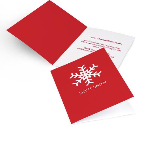 Abbildung einer roten Karte fuer geschaeftliche Weihnachtsgruesse in Hoch mit Schneeflocke und Schriftzug LET IT SNOW. Die rechte Innenseite bietet Platz fuer Text.