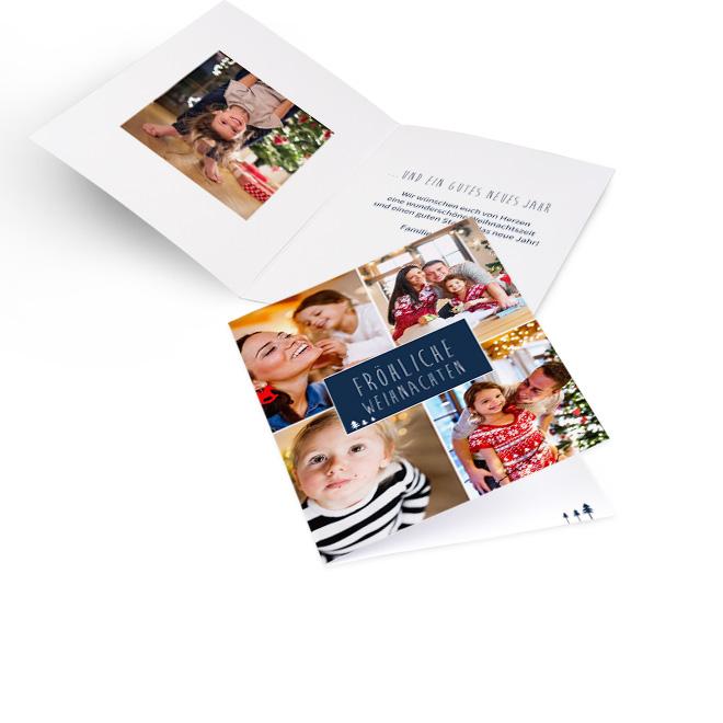 Weisse moderne Weihnachtskarten, Hoch mit vier Fotos und Schriftzug FROEHLICHE WEIHNACHTEN blau umrandet. Innenseiten bieten Platz fuer ein Foto links und Text rechts.