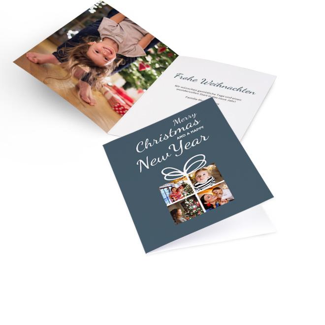 Dunkelgraue klassische Weihnachtskarten, Hoch mit vier kleinen Fotos und Schriftzug Weihnachten und Neujahr. Innenseiten mit Platz fuer ein Foto links und Text rechts.