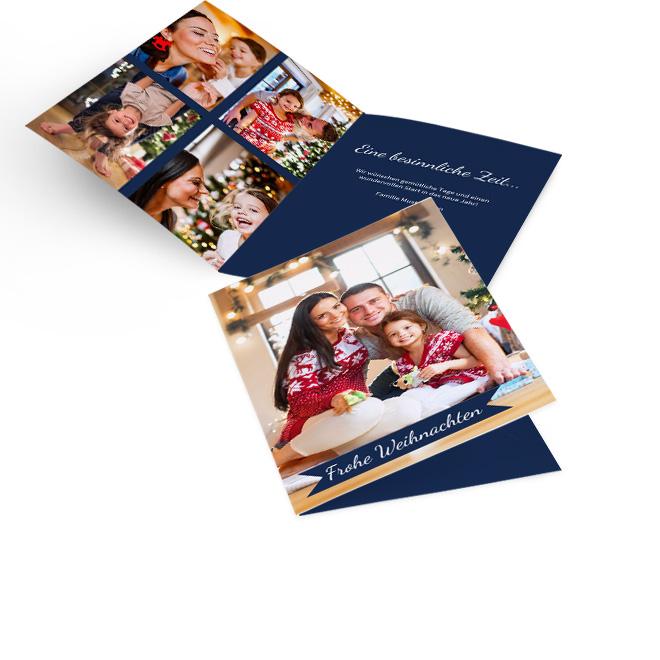 Dunkelblaue klassische Weihnachtskarten in Hoch mit Foto und Schriftzug FROHE WEIHNACHTEN. Die Innenseiten bieten Platz fuer vier Fotos links und Text rechts.
