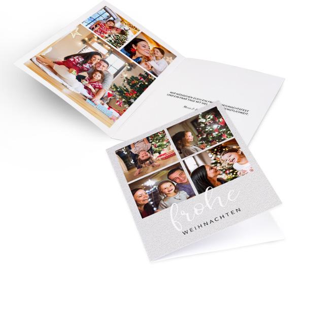Silberne nostalgische Weihnachtskarten im Hochformat mit vier Fotos und Schriftzug FROHE WEIHNACHTEN. Innenseiten mit Platz fuer drei Fotos links und Text rechts.