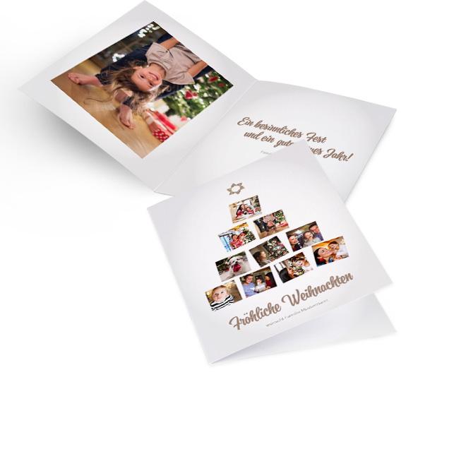 Weisse nostalgische Weihnachtskarten in Hoch mit Fotobaum aus 10 Fotos mit Schriftzug FROEHLICHE WEIHNACHTEN. Innenseiten mit Platz fuer ein Foto links und Text rechts.